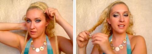 Как сделать греческую прическу с повязкой?