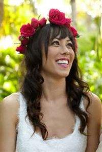 Прическа с цветами для длинных волос