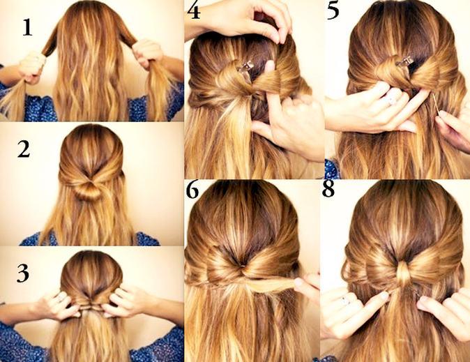 Как сделать бантик с распущенными волосами