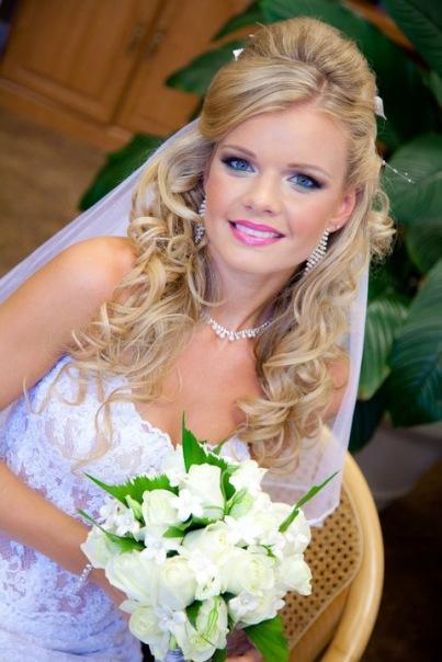 свадебные прически с фатой фото 3